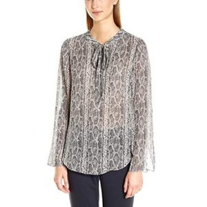 THEORY Snakeskin Print Tie Front Silk Blouse Small